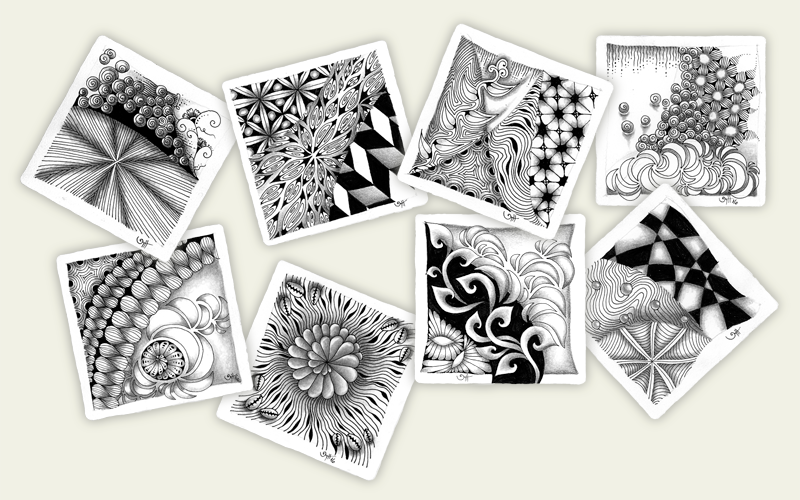 Verschiedene Zentangle-Tiles Tina Hunziker - Akua-Art